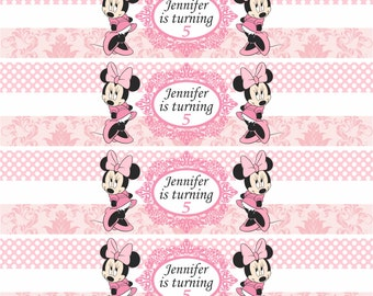 Disney Minnie  Mouse pink  Birthday Party Water Bottle Labels- Printable