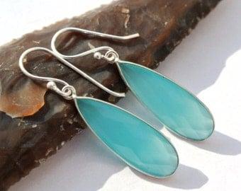Sterling Silver Bezel Set Aqua Chalcedony Earrings // Gemstone Earrings // Semiprecious Stone earrings, handmade earrings // Bridal Earrings