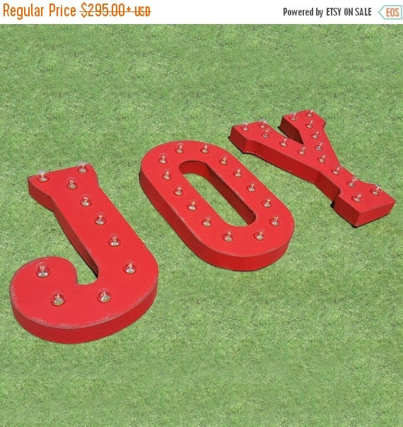 On sale 21 joy marquee letter letters holiday vintage by for Lighted letters joy