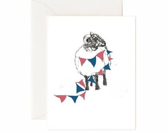 Ram with Bunting Greeting Card