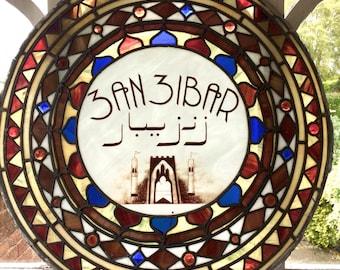 Stunning Antique Stained Glass Sign Window Zanzibar Victorian 19th Century