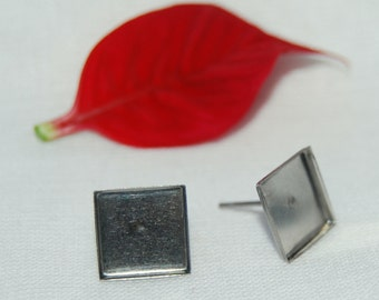Stainless Steel Square Bezel Earring Findings, 9.6 mm