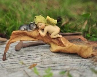 Sleeping Fairy Baby With Kitten