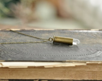 Crystal Necklace, Bullet Shell Necklace, Bullet Shell, Cleansing Necklace, Boho Necklace, Bohemian Necklace, Gypsy Necklace