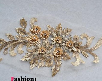 1pc Super Luxury Gold Paillette Lace Appliques Exquisite Wedding Dress Grown Bridal Veil