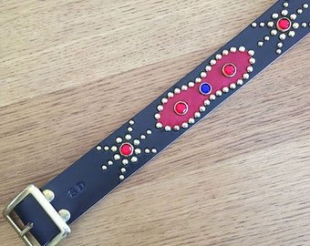 "Black leather studded western belt ""Red gold"""