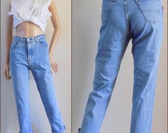 Vintage womens high waist jeans Iber high waisted stretchy boyfriend jeans 26 inch waist