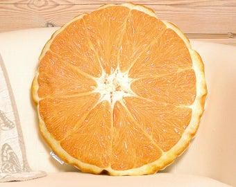 Orange Pillow, accent pillow, orange fruit shaped pillow, citrus nursery decor