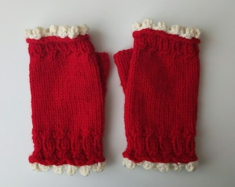 Red and White Mitts, Warm Handknitted Crochet Mittens