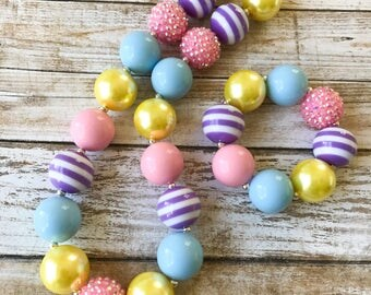 Easter Chunky Necklace, Girl Toddler Spring Necklace, Pastel Jewelry, Kids Easter Bubblegum Necklace, Baby Girl Easter Chunky Bubblegum