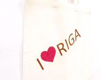 Medium cotton bag Riga Latvia shopping cotton tote bag, cotton tote bag, natural shopping bag