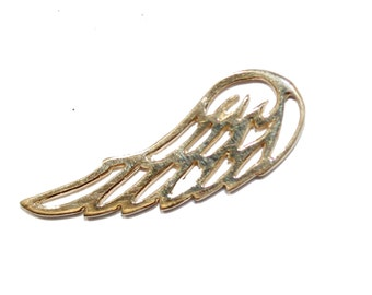 Wing 14k Yellow Gold Pendant - Angel Wing 14k Solid Yellow Gold Pendant