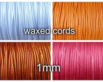 1mm waxed polyester cord - 10 meters - diameter 1mm, pink, orange, white, dk orange