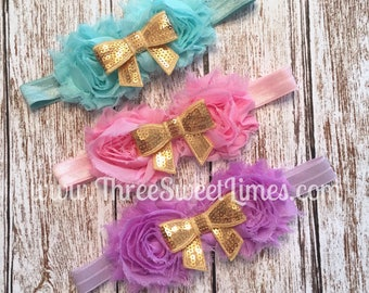 Mint Pink Purple Baby Girl Headband |  Rosette | Sequin White Bow | Baby Shower Gift | Shabby Chic Photography Prop | Boutique Bow Photo