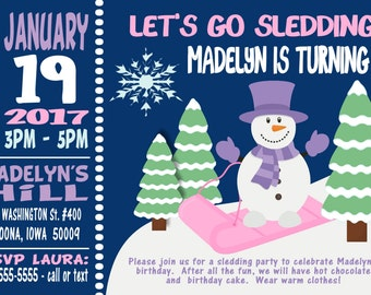 Sledding Snowman Birthday Invitation Print at Home