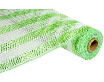 21 inch Lime White Metallic Stripe Mesh RE1044M9, Lime Green White Stripe Deco Mesh, Lime White Stripe Deco Poly Mesh