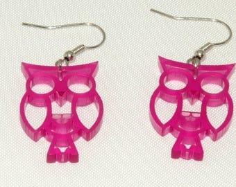 owl earrings plexi