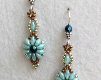Seafoam Green Crystal Flower Earrings
