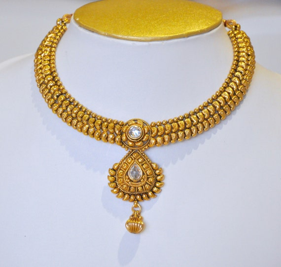 Antique gold design Indian necklace with earrings   Indian Jewellery   Indian Necklace   Temple Jewelry