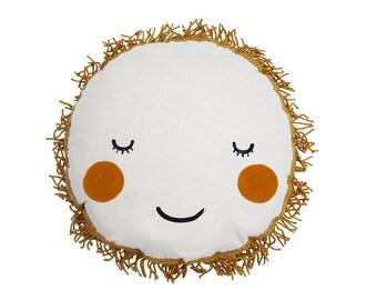 Sun plush cushion, kids, nursery, white and gold pillow, soft toy