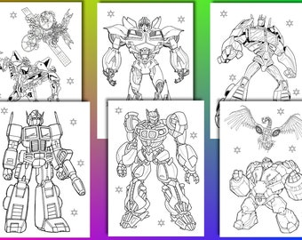 Transformers coloring pages, Transformers Birthday Party Favor, Instant Download, PDF file