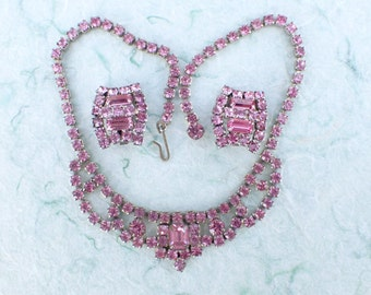 Necklace and clip on earring set pink rhinestones AB789