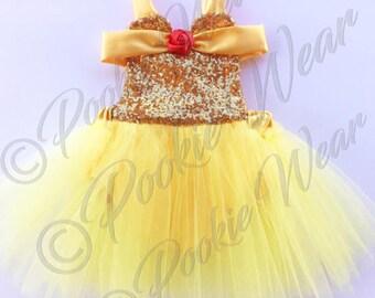 Belle dress, belle costume, princess belle dress, princess belle birthday, first birthday outfit, princess birthday outfit, princess belle