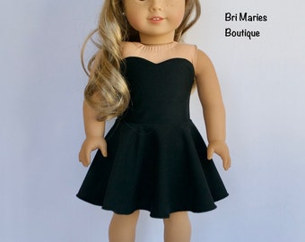 18 inch doll clothes AG doll clothes Strapless black dress made to fit like American Girl doll clothes