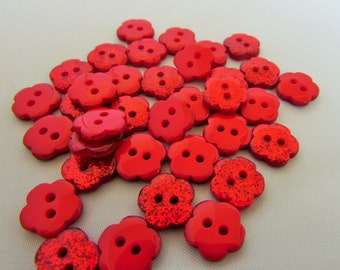 Red Glitter Flower Buttons