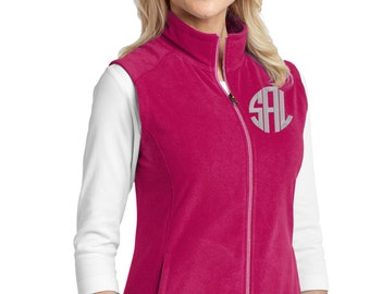 Monogram Fleece Vest - Personalized Vest- Plus Size Monogram Vest - Ladies Monogrammed Vest - Sweater Vest - Outerwear Fleece Vest