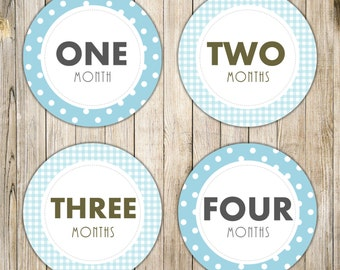 Digital BLUE MONTHLY Milestones Stickers, Baby Boy Monthly Onesie Iron On, Polka Dot Checks Baby's First Year Printables, Instant Download