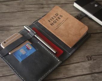 Leather Portfolio Passport Case Covers, Field Notes / Small Moleskine Notebook Sleeve, Pen Sleeve, Hand Stitched Travel-Mate Pattern