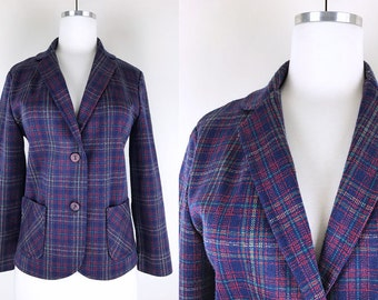 1960s 1970s Navy Blue Red Turquoise Plaid Blazer // 60s 70s Fitted Blazer Jacket