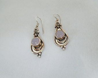 SALE NOW ON.. Silver colour earrings with pink stone