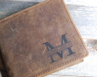 Men's leather wallet, leather wallet, personalized leather wallet, cowhide leather wallet