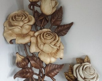 Mid Century Syroco 3 D Wall Art set of 2 Roses Ornate Floral wall plaque