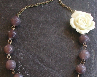 Vintage Inspired Antique Bronze Tones Flower Grey Glass Beads Necklace