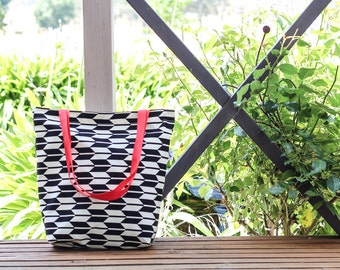 Black & White Chevron / Arrow Canvas Tote Bag