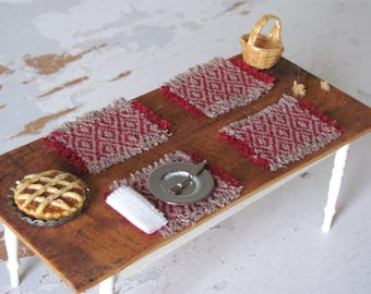 Cranberry Country Farmhouse 1:12 Scale Dollhouse Miniature Table Mat Rustic Cabin Cottage Dining Doll House Harvest Home Decor, Handwoven