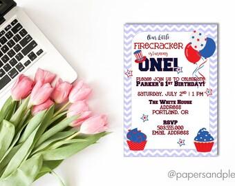 4th of July Birthday Invitation | First Birthday | Firecracker Invite | Kid's Birthday Party | July Birthday Party - Printable File