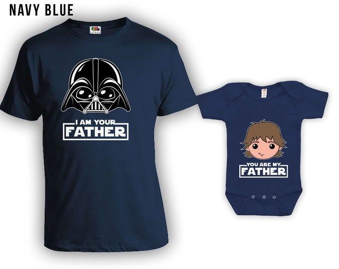 Featured listing image: Matching Father Son Shirts I Am Your Father Shirt Son Baby Bodysuit Matching Family Shirts First Fathers Day Men's Todder Tee CT-838-839