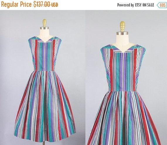 SALE 15% STOREWIDE 1950s striped cotton dress/ 50s McKetterick day dress/ medium