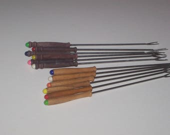 Vintage Color Coded Fondue Forks Lot of 12 Wood Handles 2 sets of 6 Kitchen Serving Utensils Party Supplies