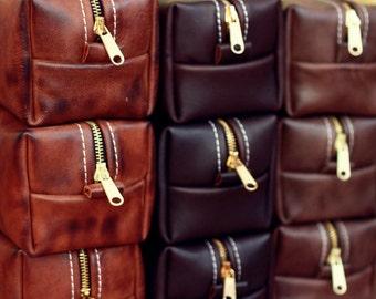 HANDMADE Men's Leather Toiletry Case Dopp Kit Shaving Bag OOAK Groomsmen Present Groomsman Gift Wedding FREE Shipping Worldwide