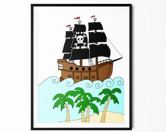 Pirate Ship Print- Printable Art