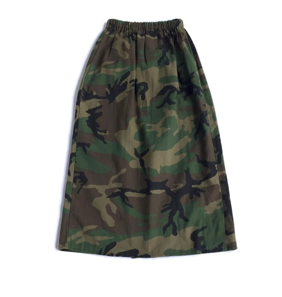 90s grunge camouflage camo maxi skirt