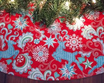 Christmas Tree Skirt-Reindeer-Stars-Scroll-Holiday Decoration-Christmas Decoration-Snowflakes-Snow-winter-Christmas Tree-Red-Blue
