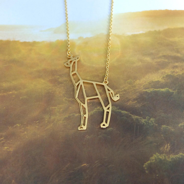 Collier girafe collier Origami Animal collier collier - photo#27