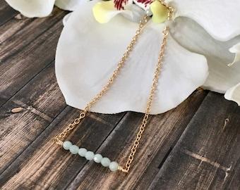 Dainty Amazonite Bar Bracelet