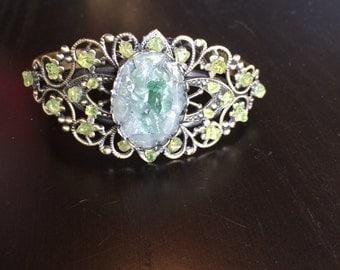 Peridot and Aventurine gemstone cuff bracelet